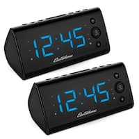 Electrohome Alarm Clock Radio w/ USB Charging for Smartphones & Tablets, Dual Alarm - 2 PACK