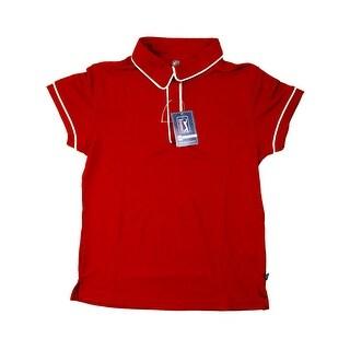 PGA TOUR Women's Polo Shirt - Red w/ White Trim - Large