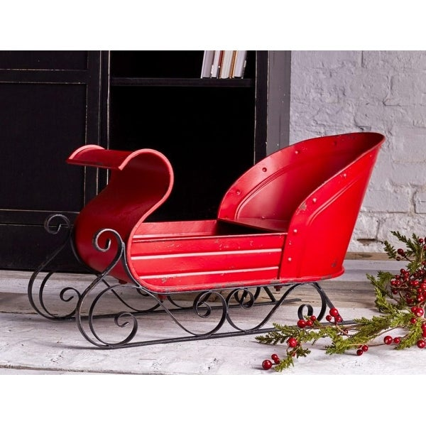 Pack of 2 Metal Red and Black Decorative Christmas Sleigh