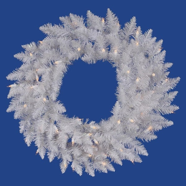 "36"" Pre-Lit Sparkle White Spruce Artificial Christmas Wreath - Clear Lights"