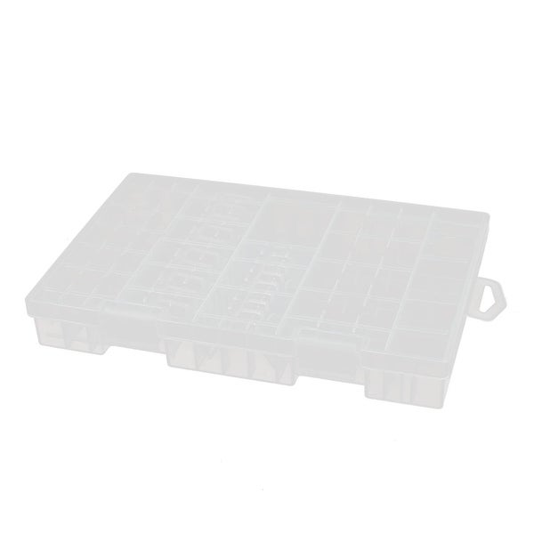 255mmx165mmx35mm Transparent Storage Case Hard Plastic Battery Holder Organizer