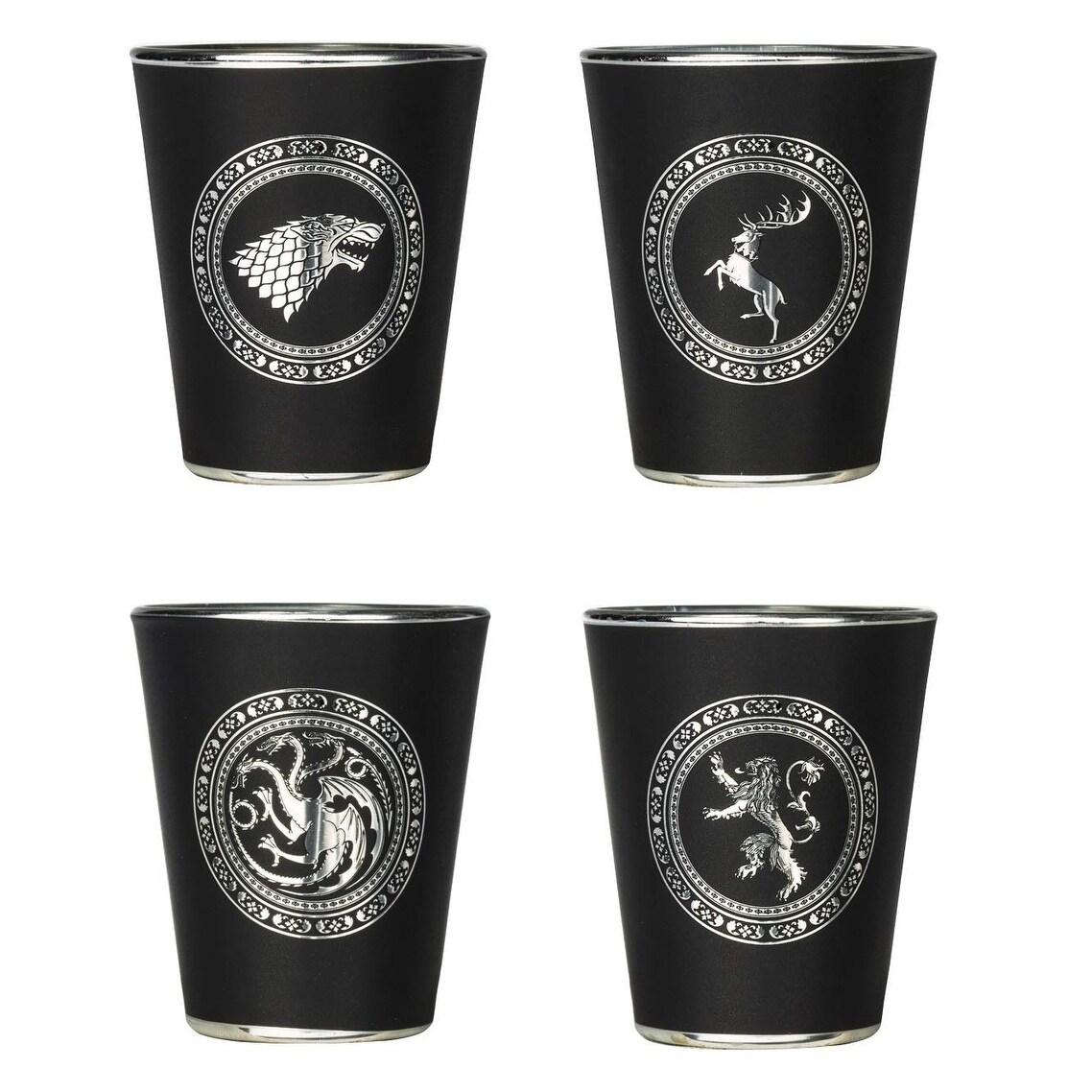 NEW* Game of Thrones SHOT GLASSES STARK LANNISTER TARGARYEN Glass Set Of 4