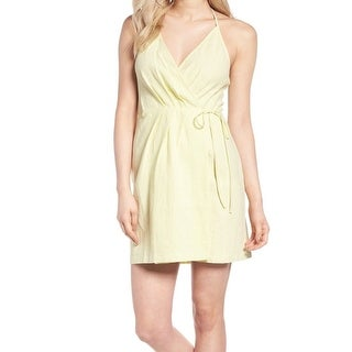ASTR Yellow Pale Women's Size Large L Pleated Mini Wrap Dress