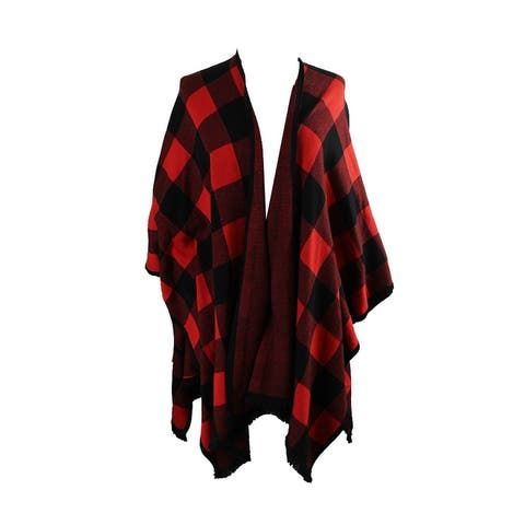 Kensie Red Checkered Open-Front Poncho Cardigan OS