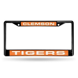 Clemson Tigers Black Laser Cut Metal License Plate Cover Frame