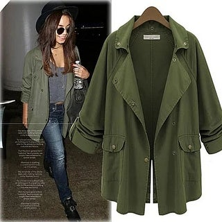 Fashion Women Celebrity Windbreaker Casual Cardigan Tops Outwear Jacket Coat