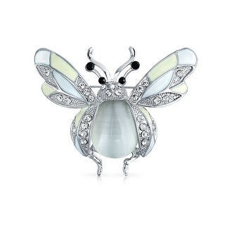 Bling Jewelry White Enamel Crystal Sparkle Honey Bee Insect Brooch