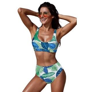 Cali Chic Women's Two Piece Swimsuit Celebrity White U-neckline High Waist Tropical