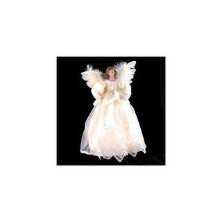 """14.5"""" Victorian Inspirations Lace Angel Christmas Tree Topper - Clear Lights"""