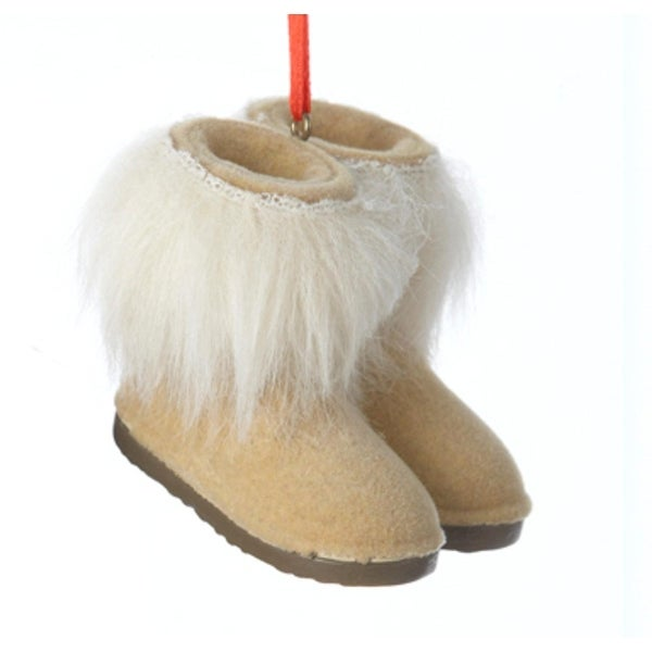 "2.25"" Fashion Avenue Tan Boots with White Faux Fur Cuff Christmas Ornament"