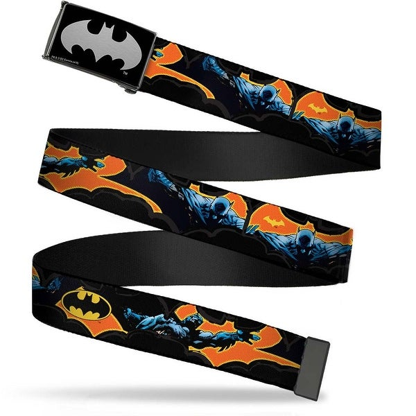 Batman Reverse Brushed Silver Cam Batman Action Poses Bat Cut Outs Web Belt