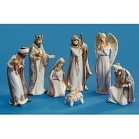 "5.25""- 8.5"" Set of 7 White and Gold Religious Nativity Porcelain Christmas Table Top Decorations"