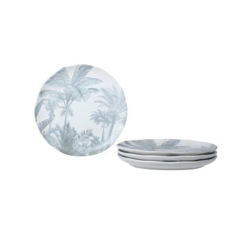 Paradise Palm Gray Salad Plate Set/4