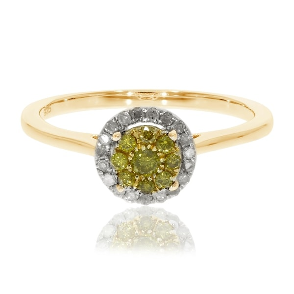 Brand New 0.25 Ctw Round Briliant Cut Yellow Color Diamond With Natural Diamond Engagement Ring - Wh