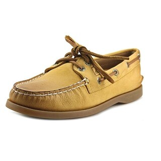 Sperry Top Sider A/O Weather Worn Women Moc Toe Leather Yellow Boat Shoe