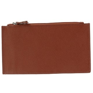 CTM® Women's Leather Long Slim Basic Bifold Wallet with Snap Closure - One size
