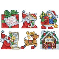 "Santa's Workshop Ornaments Plastic Canvas Kit-3""X4"" 14 Count Set Of 6"