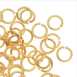 TierraCast Pewter, Small Open Jump Rings 5.4mm, 50 Pieces, 22K Gold Plated