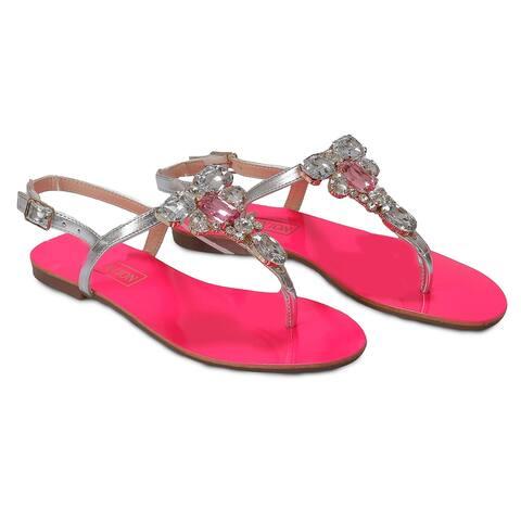 Ventutto Rio Fuschia Silver Crystal Cluster T-Strap Sandal