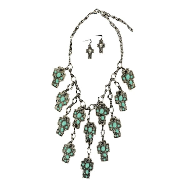 Blazin Roxx Jewelry Womens Necklace Earrings Cross Silver Turq 30738