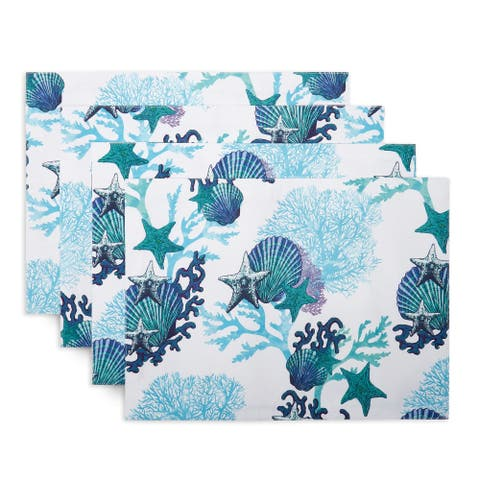 "Fiesta Coastal Coral Placemat Set, 13""x18"", White/Blue/Aqua, 4 Piece - 13""x18"""