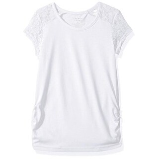 French Toast Girls 2T-16 Short Sleeve Lace Shoulder Tee