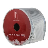 """Shimmery Silver Horizontal Wired Christmas Craft Ribbon 2.5"""" x 10 Yards"""
