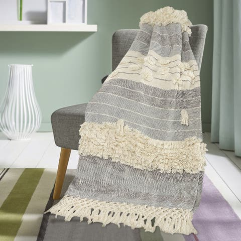 Eclectic Overtufted Throw Blanket