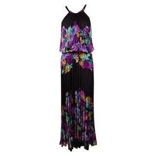 Xscape Women's Floral Print Pleated Blouson Chiffon Dress