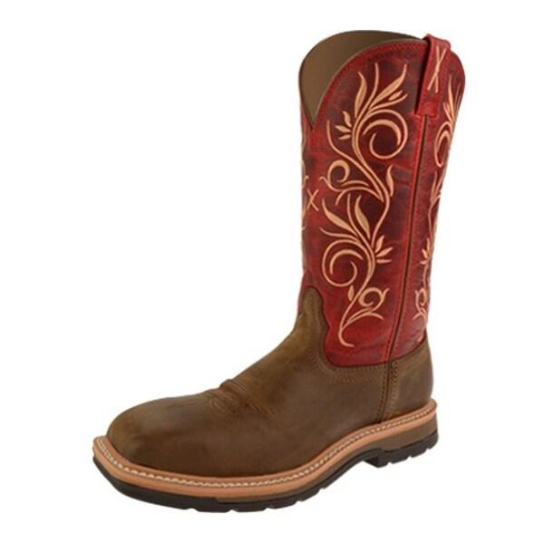 Twisted X Work Boots Womens Lite ST Distressed Latigo Red