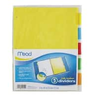 """Mead 20250 Index Dividers Sheet, 9"""" x 11"""", 5 Count, Assorted"""
