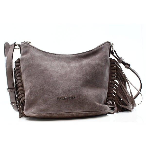 2c923b6d92075b Shop Michael Kors NEW Gray Cinder Suede Billy Fringe Messenger Bag ...