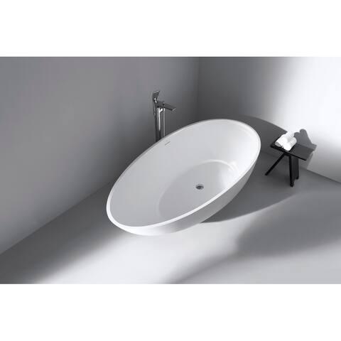 "Vanity Art 59"" Glossy Solid Surface Freestanding Bathtub VA6913-GS - 59"