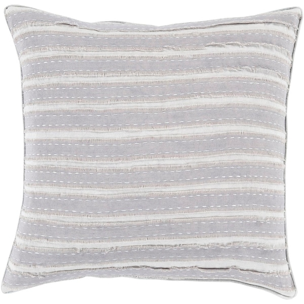 """20"""" Neutral Light and Haze Gray Striped Decorative Square Throw Pillow - Down Filler"""
