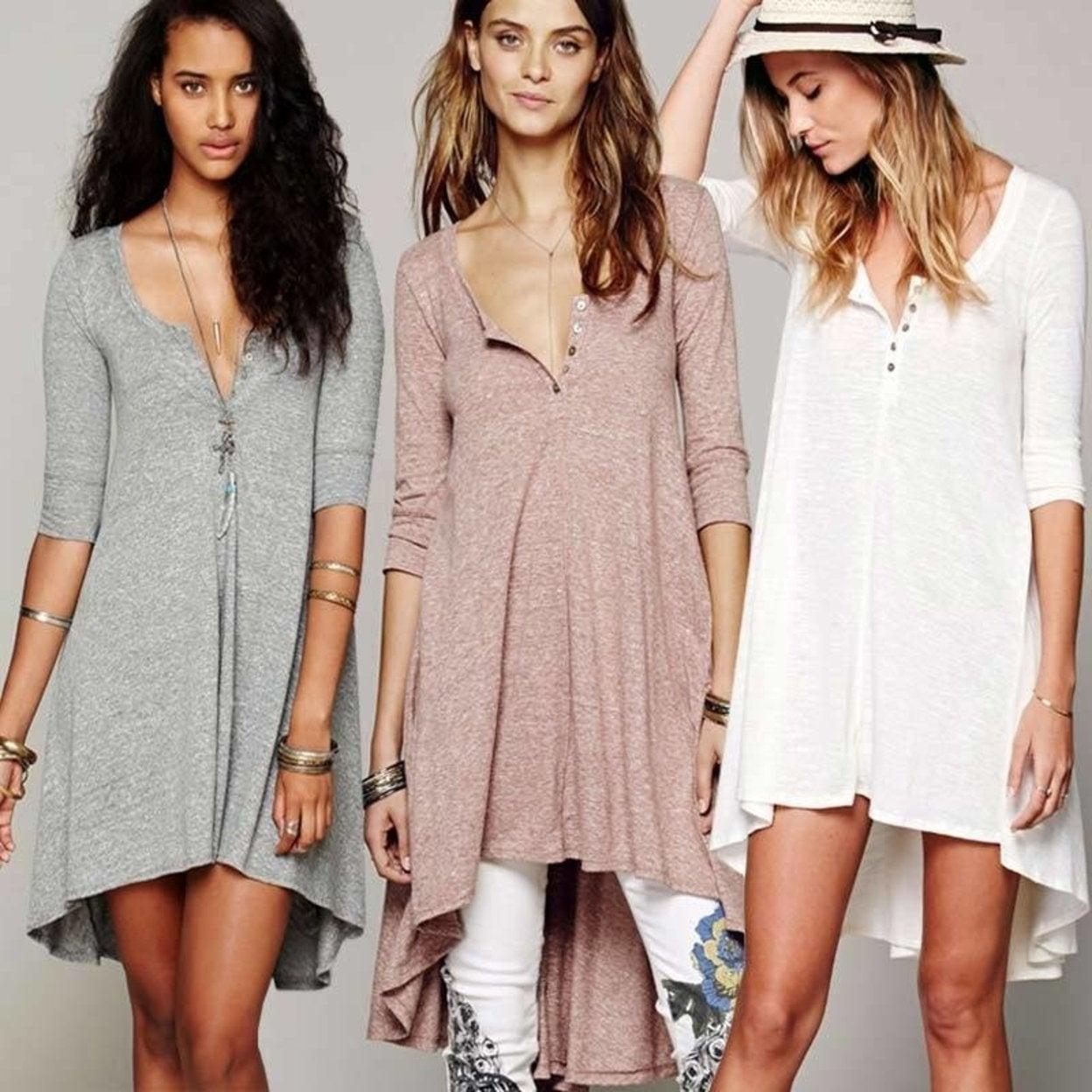 T Shirt Dress Women Long Shirt Dress Cotton Loose Sleeve V Neck Boho Style Hippie Chic Summer Autumn 2017 Women Robes Clothing Overstock 27108132