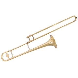 Gymax B Flat Trombone Gold Brass with Mouthpiece Case Gloves for Beginners Students