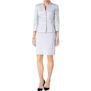 Tahari Womens Skirt Suit Jacquard Embellished