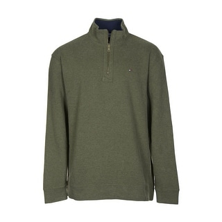 Tommy Hilfiger Sweatshirt XX-Large Moss Green Heather 1/4 Zip Mockneck - 2XL