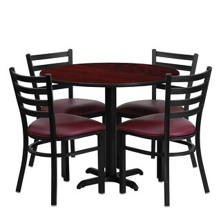 Offex 36'' Round Mahogany Laminate Table Set with Ladder Back Metal Chair and Burgundy Vinyl Seat