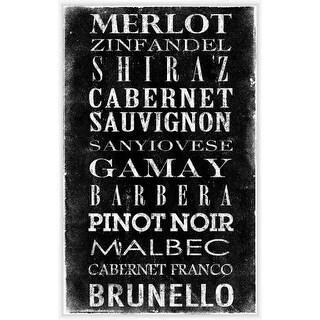 PTM Images 336907 Wine Varieties Sign White on Black