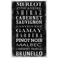 PTM Images 336907 Wine Varieties Sign White on Black - N/A