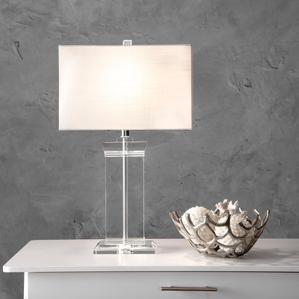 """nuLOOM 25"""" Helena Crystal Ionic Column Cotton Shade Table Lamp. Opens flyout."""