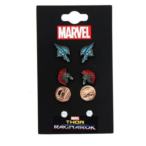 Marvel Thor: Ragnarok Enamel Stud Earrings 3-Pack: Thor, Hulk, Hela