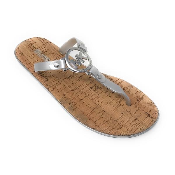 Michael Kors MK Charm Jelly Flip Flop Cork Bottom, Silver