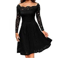 2017 Elegant Lace off shoulder dress Solid long sleeve A-Line Fashion Sexy Slim Party Dresses Plus size S-XXL