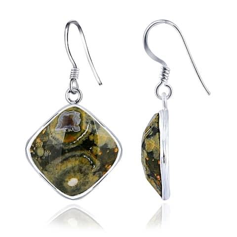 Jasper Sterling Silver Cushion Dangle Earrings By Essence Jewelry