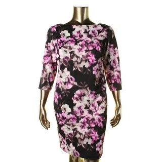 Jessica Howard Womens Plus Ikat Knee-Length Cocktail Dress