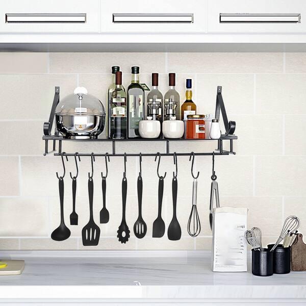 Kitchen Shelf Folding Kitchen Wall Hanging Pot Rack With 10 Hooks 24x9x9 Inch Overstock 32574529