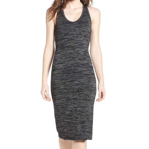 Leith Black Marled Scoop Neck Women Large L Bodycon Sheath Dress