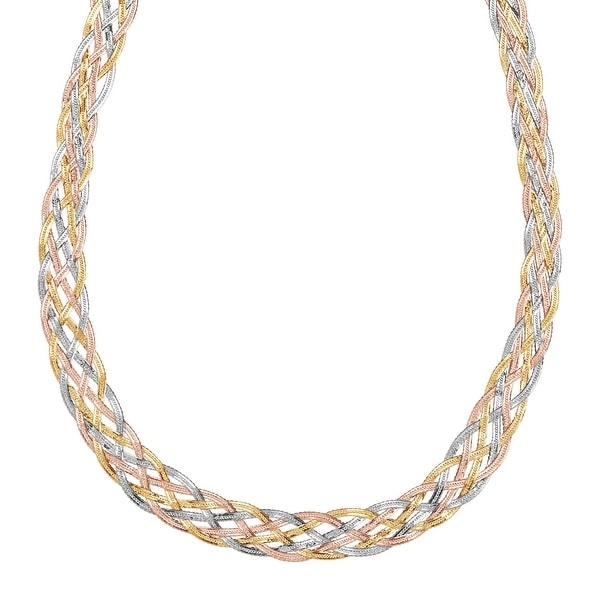 Eternity Gold Braided Herringbone Chain Necklace in 10K Three-Tone Gold
